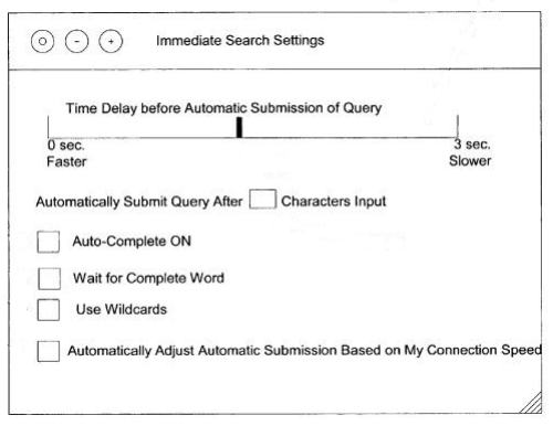 A browser control box showing Immediate Search Settings, including a slider to set a time delay before queries might be automatically submitted.