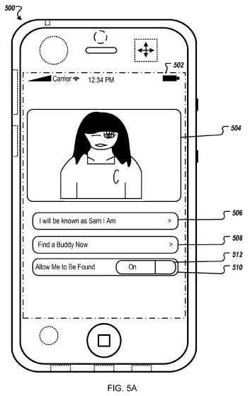 An interface from the apple patent showing how to make the Buddy Finder active and turn on the Find Friend Now feature.