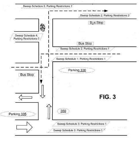 Street map image from Apple patent filing showing location of bus stop, parking restriction information, and the location of a parking garage.