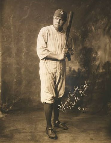 An image of George Herman (Babe) Ruth, Jr., posing with bat in hand and malice towards baseballs in his heart.