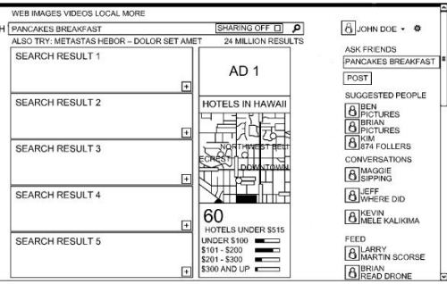 A screenshot from the patent showing a social side pane alongside Bing social search results, with a place to enter questions in Facebook, and select people who might answer those questions, ans well as related posts and results.