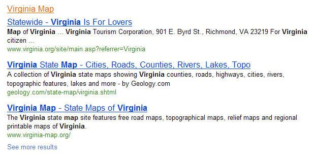 The grouping of Virginia maps results on a search for the term virginia.