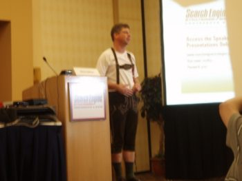 Danny Sullivan models a pair of lederhosen
