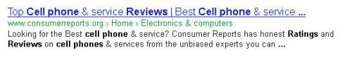 A Google snippet showing a page from Consumer Reports on cell phone services with some highlighted terms in the snippet.