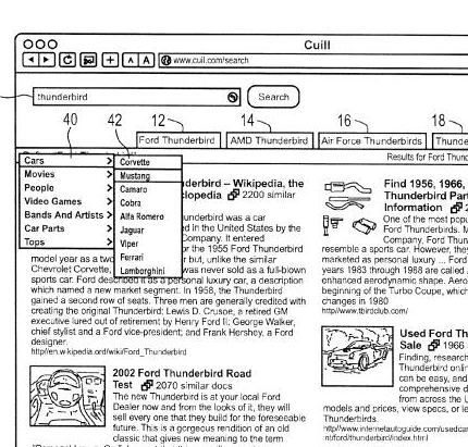 A screenshot from the Cuil patent showing deeper levels of categories from one of the tabs.