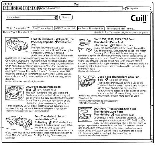 A screenshot from the Cuil patent showing different tabs for different senses of a search result.