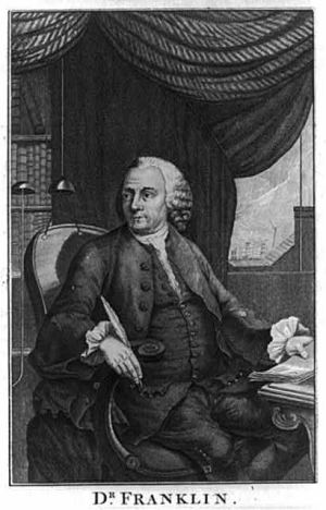 Dr. Benjamin Franklin at a writing desk with quill in one hand, paper in the other, and behind him through a window lightning shown striking a building - engraving by Pater Noster Row, dated 1778.