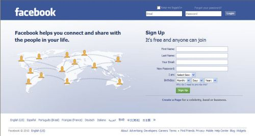 The Facebook.com home page today