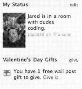 A Facebook status screen, with a note that there is '1 free wall post gift to give.'