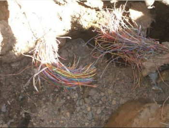 a picture of the severed fiber optic cable that disconnected the data center my site is hosted upon.