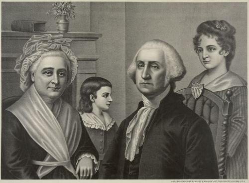 A lithograph of George and Martha Washington with two children, originally copyrighted in 1889 by Kurz and Allison.