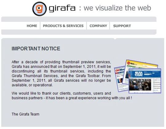 A notice from the Girafa website informing visitors that they will no longer be providing services after September 1, 2011.