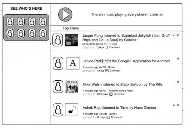 A screenshot from the patent filing showing a media feed expressly for music.