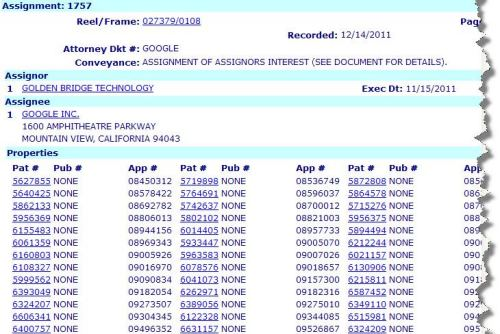 An image from the USPTO database showing the assignment of patents from GBT to Google.
