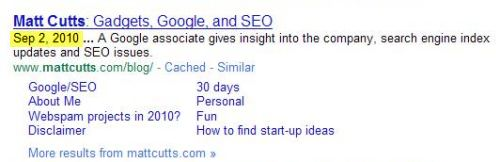 A Google search result for Matt Cutts, showing a date of Sep 2, 2010 at the start of the description for his blog home page.