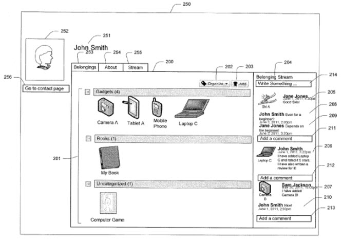 A screenshot from the patent showing the user interface for showing off your belongings.