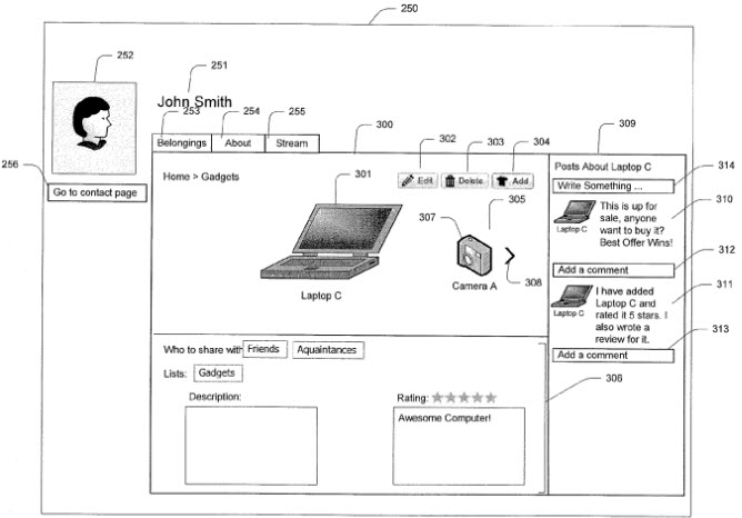 A screenshot from the patent showing the user interface for adding and rating your belongings.