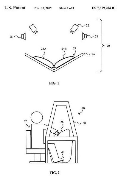 Images from US Patent 7,619,784, granted to Google, showing a book in a cradle with cameras and speakers in a top image, and a person sitting at a manual scanning desk in a bottom image.