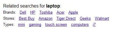 A Google screenshot of brand, product, and type query refinements in a search for the word laptop.