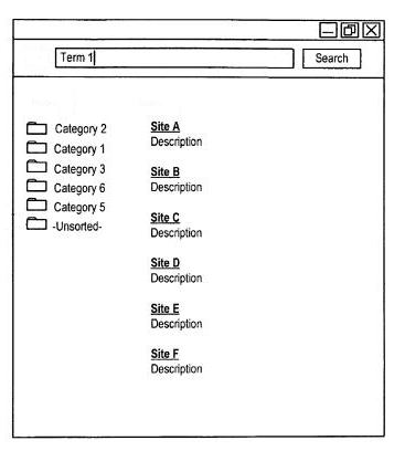 A screenshot from the patent showing search results in response to a query term with categories associated with the query in the left sidebar.