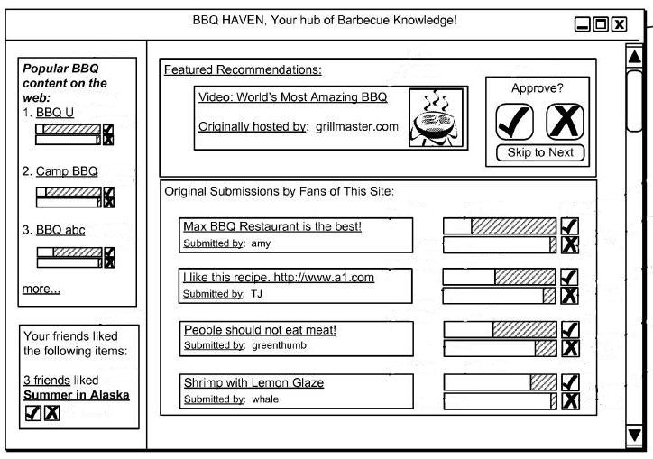 A screenshot from the patent showing an interface displaying recommendations that you can vote upon for content on the site you're visiting and for related content on the Web.