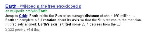 A three line search result for a query about Earth's rotatonal Axis and distance from the Sun.