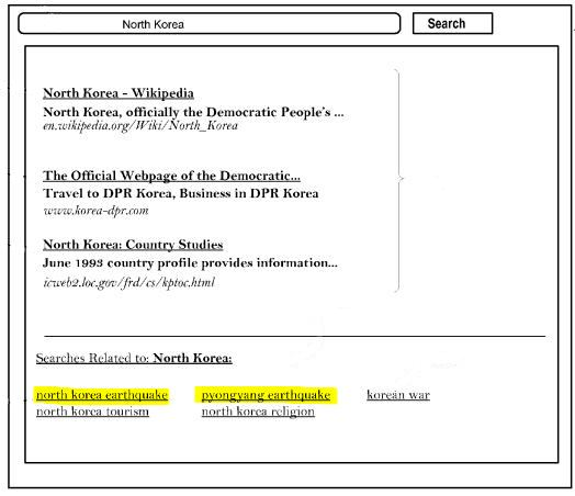 A screenshot from the patent showing search suggestions that include a couple of very recent suggestions showing earthquakes.