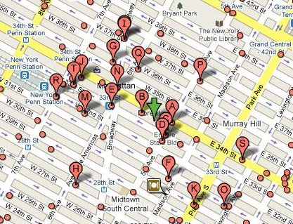 Google local map with pinpoints for pizza places near the Empire State Building