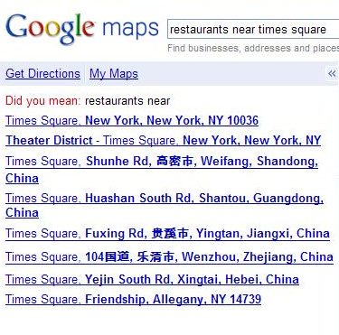 Google local search result for restaurants near times square showing links to refine the search.