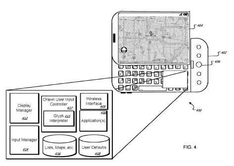 A screen shot from the Google patent on Glyphs, which shows a phone displaying a map, and an illustration of some of the aspects of the software underlying a map search using gestures.