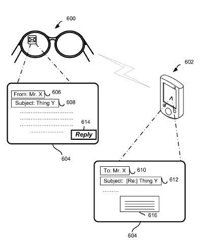 A pair of images show an email being received on Google Glass, and responded to on a smart phone.