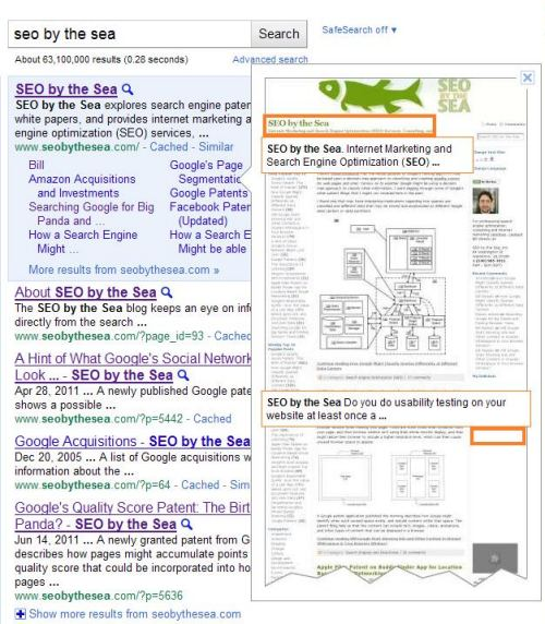 A screenshot of Google's search results on a search for [SEO by the Sea] with an Instant Preview of the page being displayed.