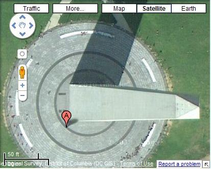 A Google Map displaying the Washington Monument from a satellite view.