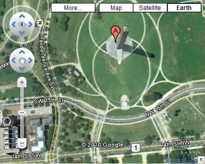 A Google Map displaying the Washington Monument.