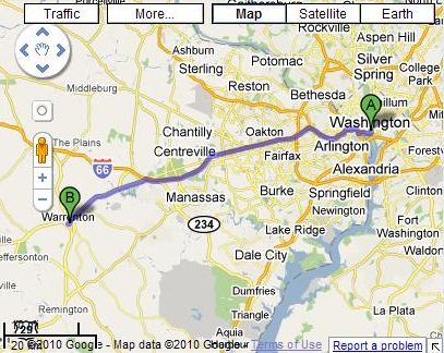 A Google Map showing the route between Warrenton, Virginia and Washington, DC.