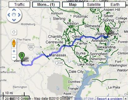 A Google Map showing the bicycle route between Warrenton and Washinton.