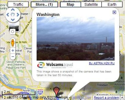 A Google Map showing a Webcam overlooking part of Washington, DC