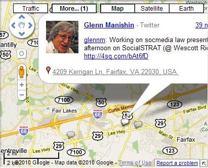 A Google Map with a tweet sent from a point along the route.