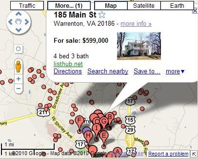 A Google Map showing a Warrenton home for sale. Nice place.