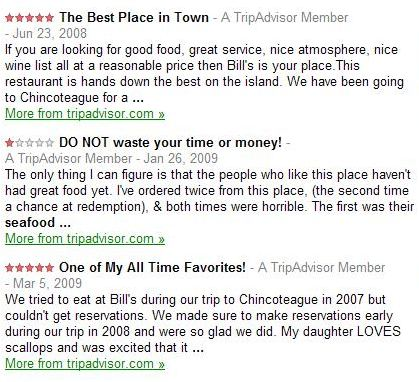 three review summaries for a seafood restaurant from Google Maps showing very different sentiments about the same restaurant.