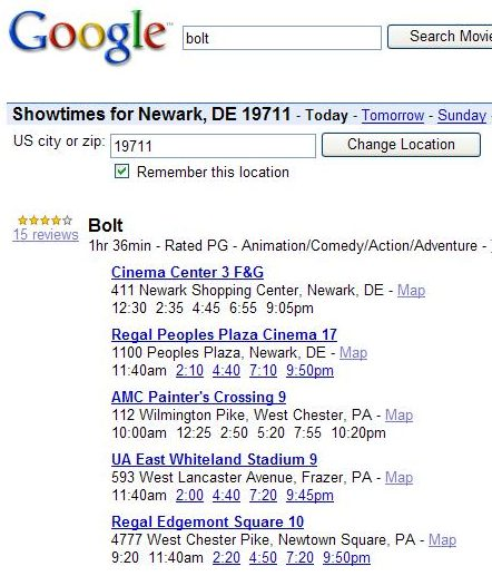 screenshot of movie text box where a zip code could be entered