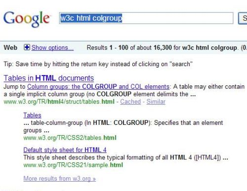 Google search results showing a link allowing searchers to jump to a lower point on a page to a named anchor.