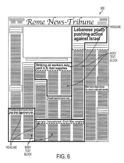 An image from the Google patent filing showing different headlines and body text blocks on a newspaper