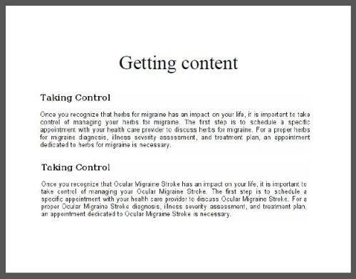 One of John Lamping's slides from his Quality of Information presentation showing two different paragraphs where madlib style keyword insertion has been performed on the content.