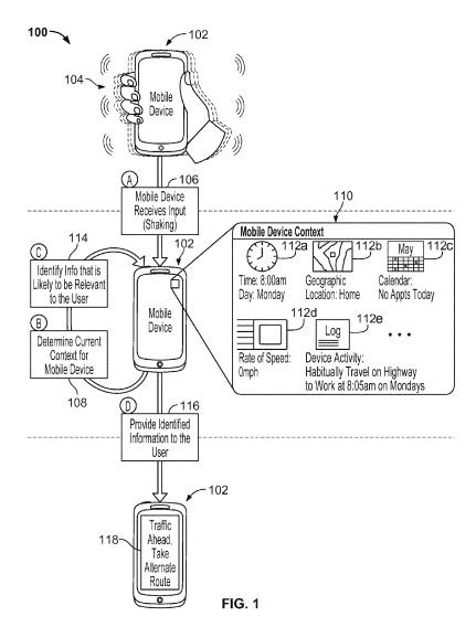 Screenshot from the patent showing someone shaking a phone, context information for that search, and a search result