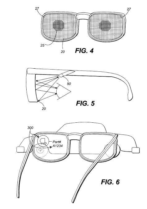 A screenshot from the patent showing three parts: a pair of glasses, a camera scanning someone's eye, and a view through the glasses showing a part number for a car.