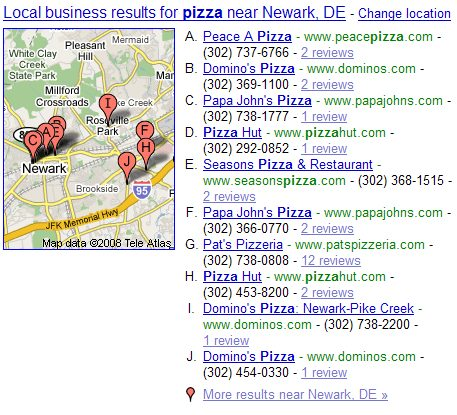 screenshot of local pizza results