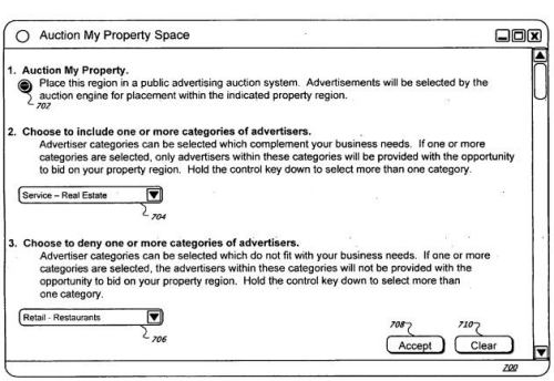 An auction interface a property owner might use to let others know that advertising spots are available on Streetview images.