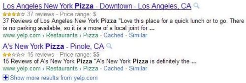 A screenshot of Google search results showing results for two different restaurants in a search for [pizza] in New York, indicating a number of starred reviews.