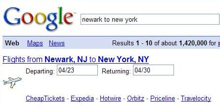search result from Google showing flight information form.